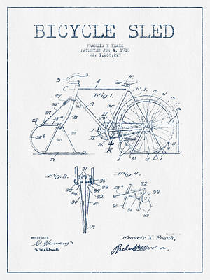 Transportation Digital Art - Bicycle Sled Patent Drawing from 1918 - Blue Ink by Aged Pixel