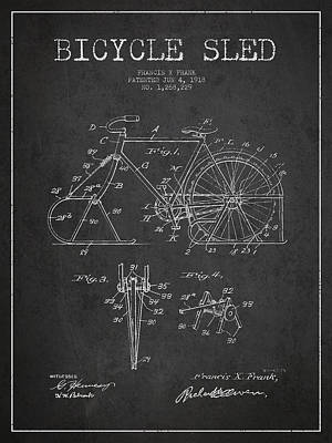 Transportation Digital Art - Bicycle Sled Patent Drawing from 1918 - Dark by Aged Pixel