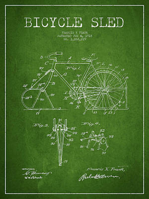 Transportation Digital Art - Bicycle Sled Patent Drawing from 1918 - Green by Aged Pixel