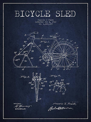 Transportation Digital Art - Bicycle Sled Patent Drawing from 1918 - Navy Blue by Aged Pixel
