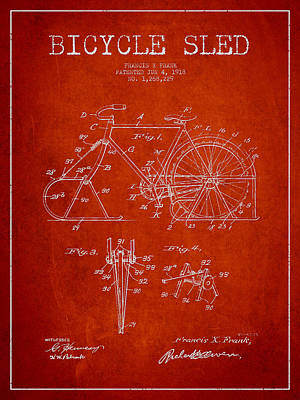 Transportation Digital Art - Bicycle Sled Patent Drawing from 1918 - Red by Aged Pixel