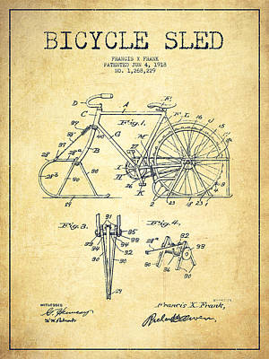 Transportation Digital Art - Bicycle Sled Patent Drawing from 1918 - Vintage by Aged Pixel