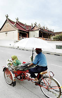 Katharine Hepburn - Bicycle Taxi In Penang Malaysia by JM Travel Photography