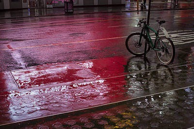 Photograph - Bicycle Times Square Rainy Night by Dave Beckerman