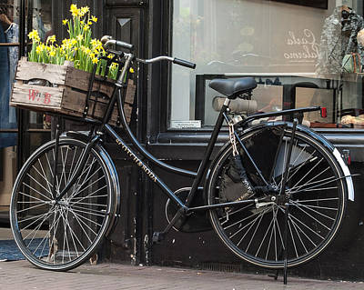 Photograph - Bicycle With Flowers #1 by Marinus Ortelee