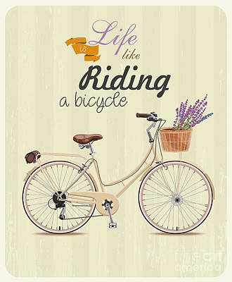 Steampunk Wall Art - Digital Art - Bicycle With Lavender In Basket. Poster by Tatsiana Tsyhanova