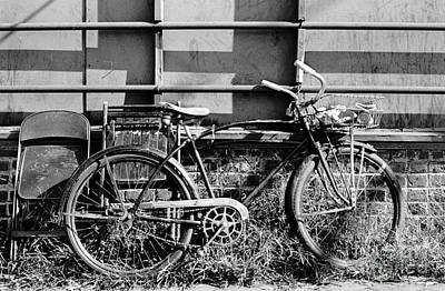 Photograph - Bicycle With Two Chairs And Railing by Tom Brickhouse