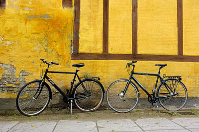Art Print featuring the photograph Bicycles Aarhus Denmark by John Jacquemain
