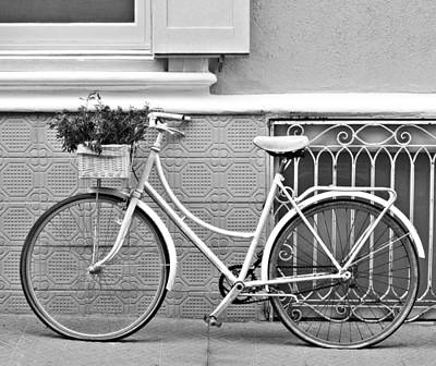 Tile Photograph - Vintage Bicycle Photography In Black And White - Bicycles Are Not Only For Summer Time 2 by Pedro Cardona