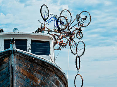 Photograph - Bicycles Falling Off A Boat by Ronda Broatch