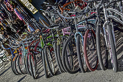 For Rent Photograph - Bicycles For Rent by Camille Lopez