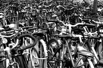 Art Print featuring the photograph Sea Of Bicycles- Karlsruhe Germany by Joey Agbayani