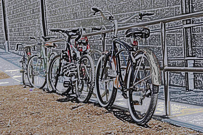 Digital Art - Bicycles On A Rail by Joyce  Wasser