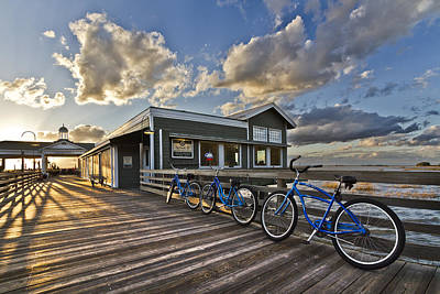 Beach Cruiser Photograph - Bicycles On The Dock by Debra and Dave Vanderlaan