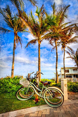 Photograph - Bicycles Under The Palms by Debra and Dave Vanderlaan