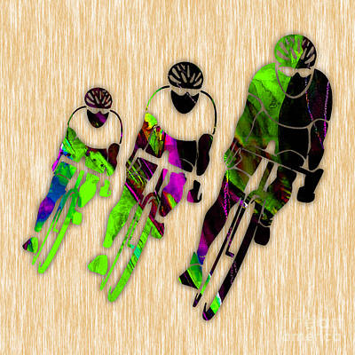 Mixed Media - Bicycling by Marvin Blaine