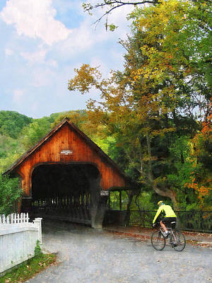 Photograph - Bicyclist At Middle Bridge Woodstock Vt by Susan Savad