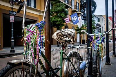 Photograph - Bicyles And Mardi Gras Beads by Andy Crawford
