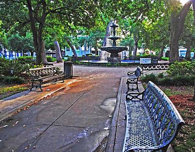 Painting - Bienville Square And The Bench 2 by Michael Thomas