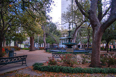 Digital Art - Bienville Square Fountain by Michael Thomas