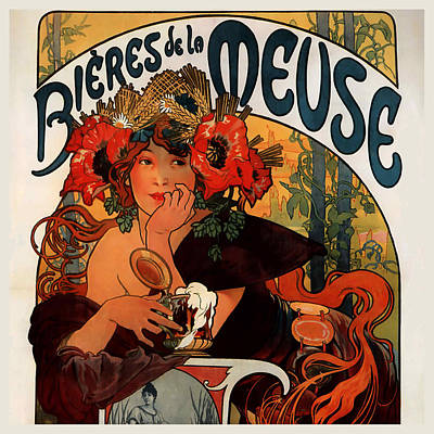 Mucha Painting - Bieres De La Meuse Poster by Philip Ralley