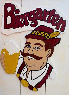 Photograph - Biergarten Sign by Kristina Deane