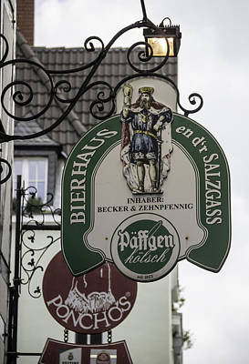 Bier Photograph - Bierhaus En Dr Salzgass Sign Cologne Germany by Teresa Mucha