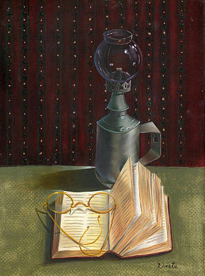 Oil Lamp Painting - Bifocal Read by Doreta Y Boyd