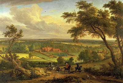 Park Scene Painting - Bifrons Park, Kent Hunting Scene With Brifons Park by Litz Collection