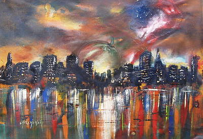 Painting - Big Apple Never Sleeps by Miroslaw  Chelchowski