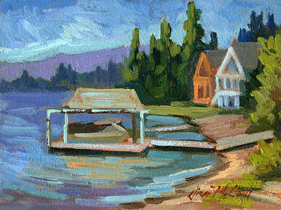 Boathouses Painting - Big Bear Lake South Shore 2 by Diane McClary