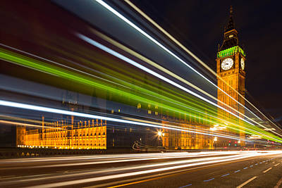 Photograph - Big Ben And Bus Blur by Adam Pender