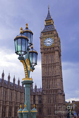 Lamppost Photograph - Big Ben And Lampost by Simon Kayne