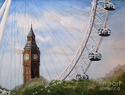London Eye Painting - Big Ben And The London Eye by Diane Marcotte