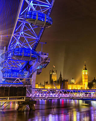 Big Ben And The London Eye Art Print by Ian Hufton