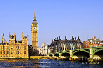 Landmarks Royalty-Free and Rights-Managed Images - Big Ben and Westminster bridge 2 by Elena Elisseeva