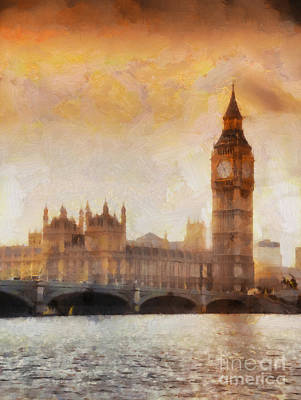 Landmarks Painting Royalty Free Images - Big Ben at dusk Royalty-Free Image by Pixel Chimp