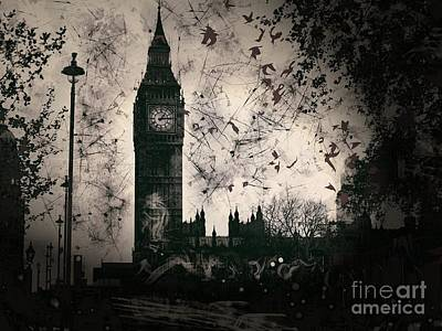 Digital Art - Big Ben Black And White by Marina McLain