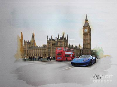 Big Ben Mixed Media - Big Ben Ferrari by Roger Lighterness