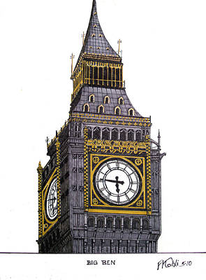 Pen And Ink Historic Buildings Drawings Drawing - Big Ben by Frederic Kohli