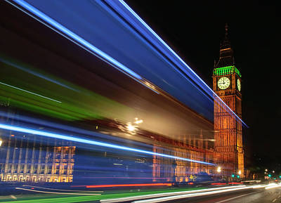 Big Ben Light Trails Art Print by Ivelin Donchev