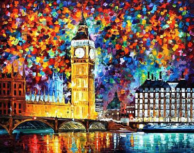 Big Ben London - Palette Knife Oil Painting On Canvas By Leonid Afremov Original by Leonid Afremov
