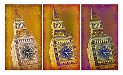 London Skyline Royalty-Free and Rights-Managed Images - Big Ben Triptych 1 by Stephen Stookey