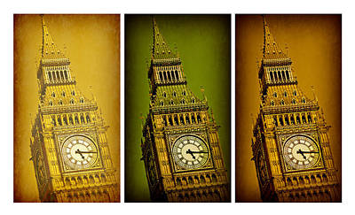 London Skyline Royalty-Free and Rights-Managed Images - Big Ben Triptych 2 by Stephen Stookey