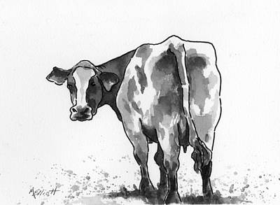 Bovine Animals Painting - Big Bertha Blk/wht by Marsha Elliott