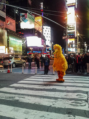 Life Size Photograph - Big Bird On Times Square by Scott Campbell
