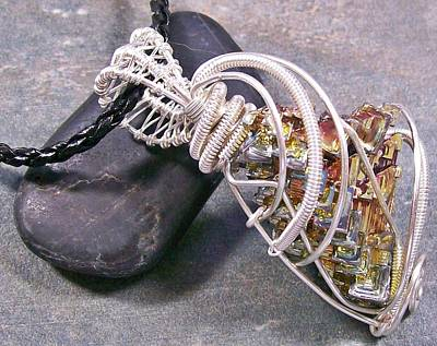 Heather Jordan Jewelry - Big Bismuth Crystal And Silver Wire-wrapped Pendant by Heather Jordan