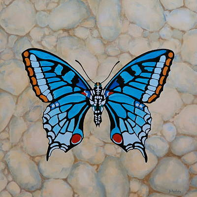 Painting - Big Blue Butterfly by Jo Appleby