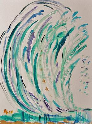 Abstract Expressionism Drawing - Big Blue Crashing Wave by Mary Carol Williams