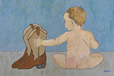 Toddler Portrait Painting - Big Boots To Fill by Ella Kaye Dickey